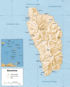 Map of Dominica with Nautilus Aquatics